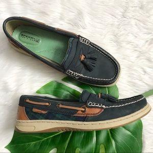 Mens Sperry Blue Tan Plaid Tassel Boat Shoe Loafer